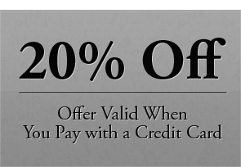 20% Off - Offer Valid When You Pay with a Credit Card